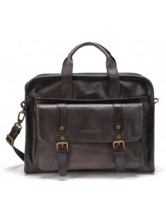 Porte document grand modèle cuir ciré vintage Gris anthracite