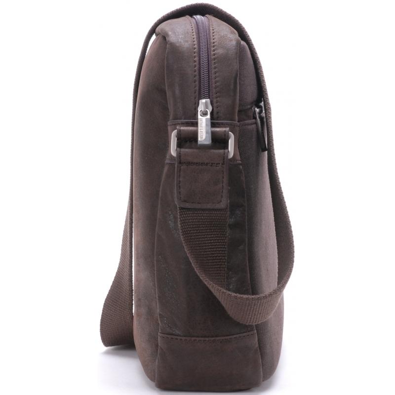 en présentant outlet grande remise Besace zippée cuir vachette