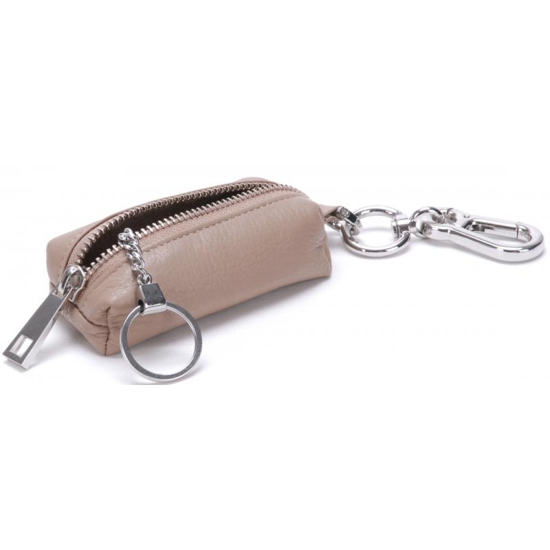 Porte-monnaie rectangle cuir à mousqueton