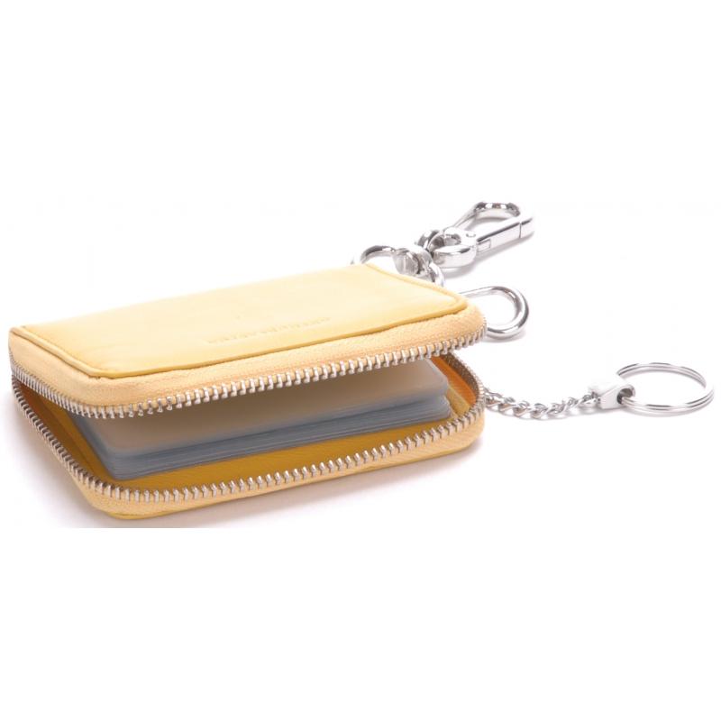Porte-cartes cuir à mousqueton