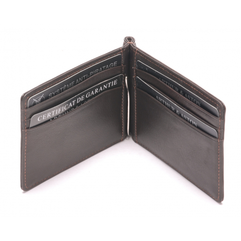 Porte cartes et billets cuir vachette plongé et doublure polyester