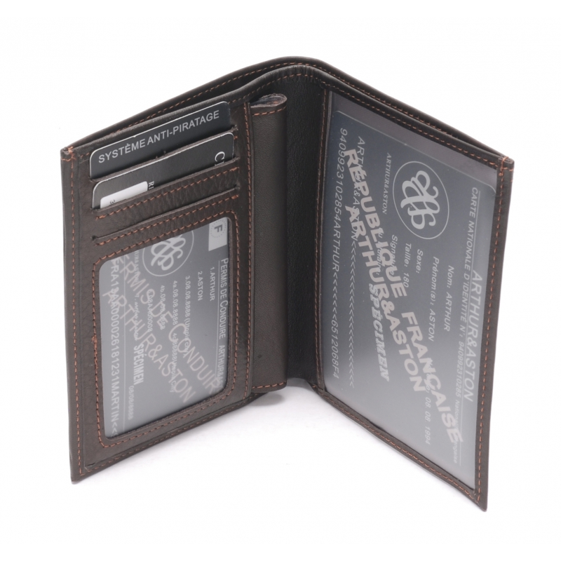 Porte-papiers cuir vachette plongé et doublure polyester