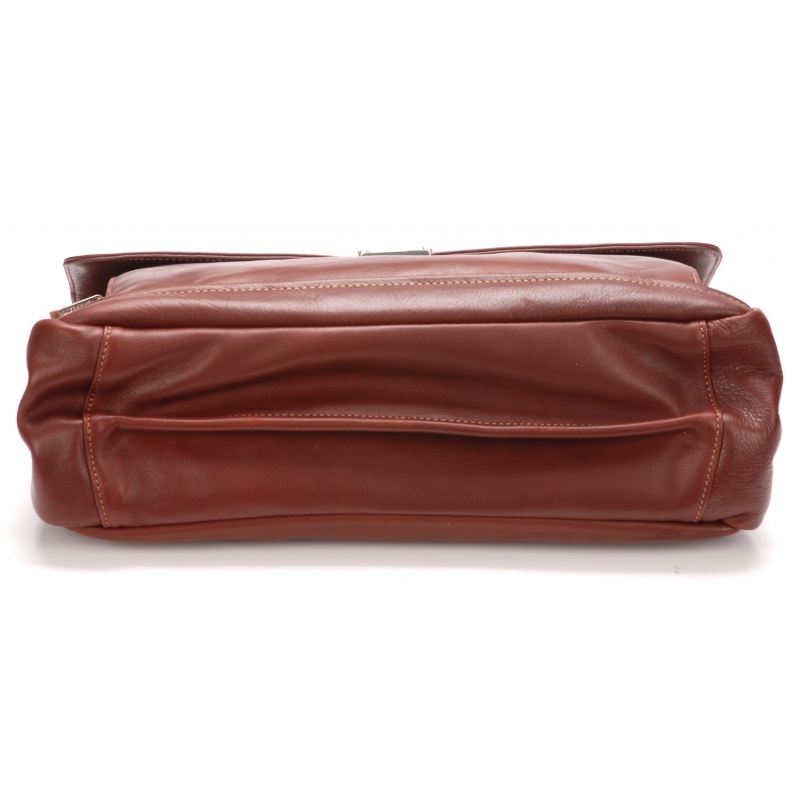 Serviette 2 soufflets cuir vachette et doublure coton