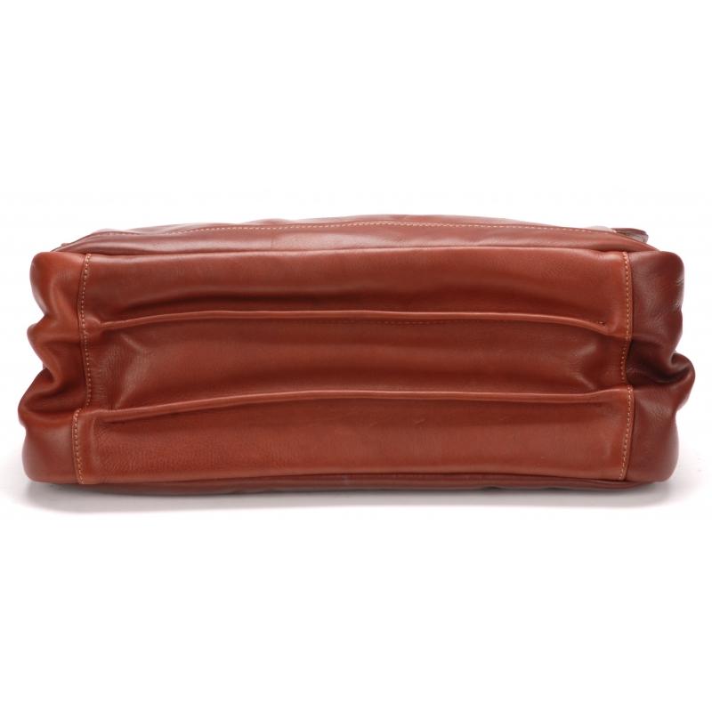 Serviette 3 soufflets cuir vachette et doublure coton