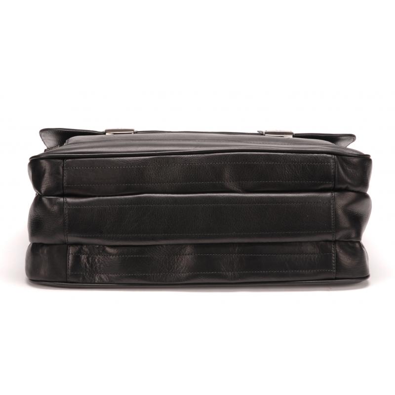 Serviette cuir plongé 3 soufflets noir