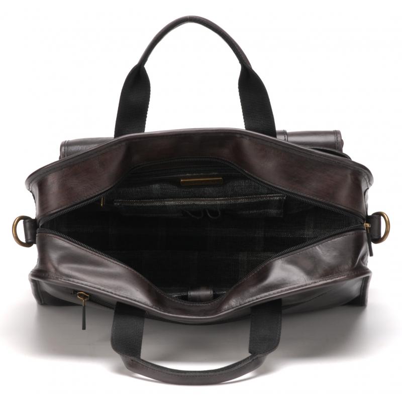 037f06e30ca1c Porte document grand modèle cuir ciré vintage Gris anthracite - La ...