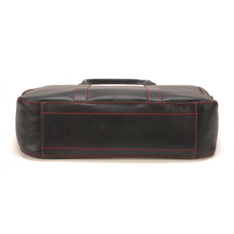 Porte document zippé en cuir noir