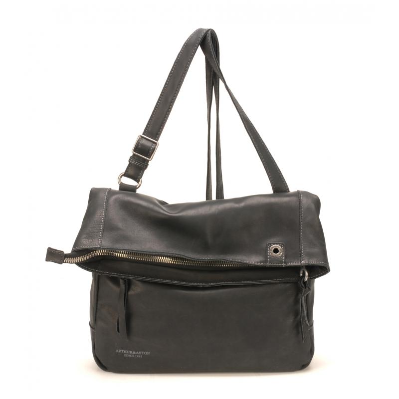 Sac Bandoulière Ashley Cuir Noir - La boutique Arthur Aston 2464526f5b5