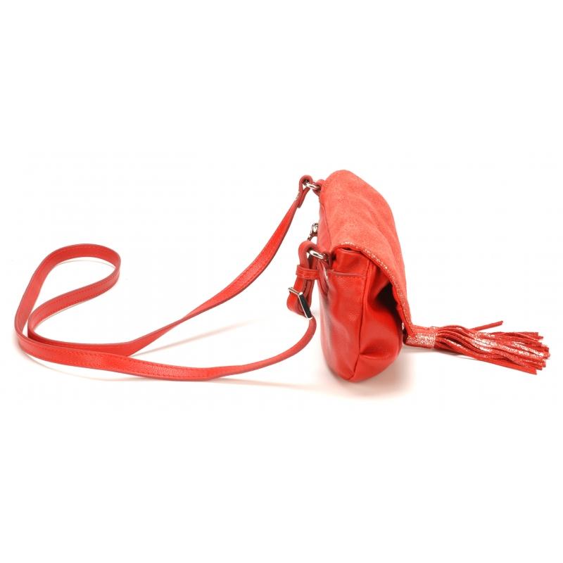 Pochette bandoulière à rabat Essra cuir bicolore