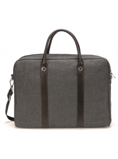 Sac porte-documents en toile polyester garniture cuir