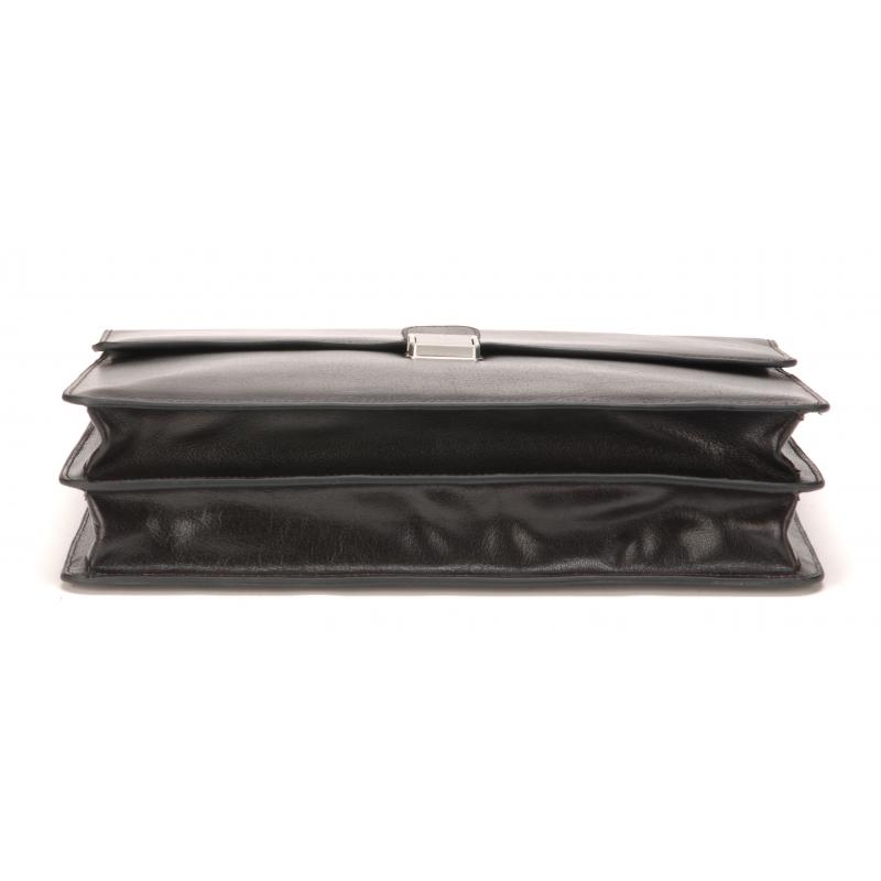 Serviette 2 soufflets cuir de buffle noir