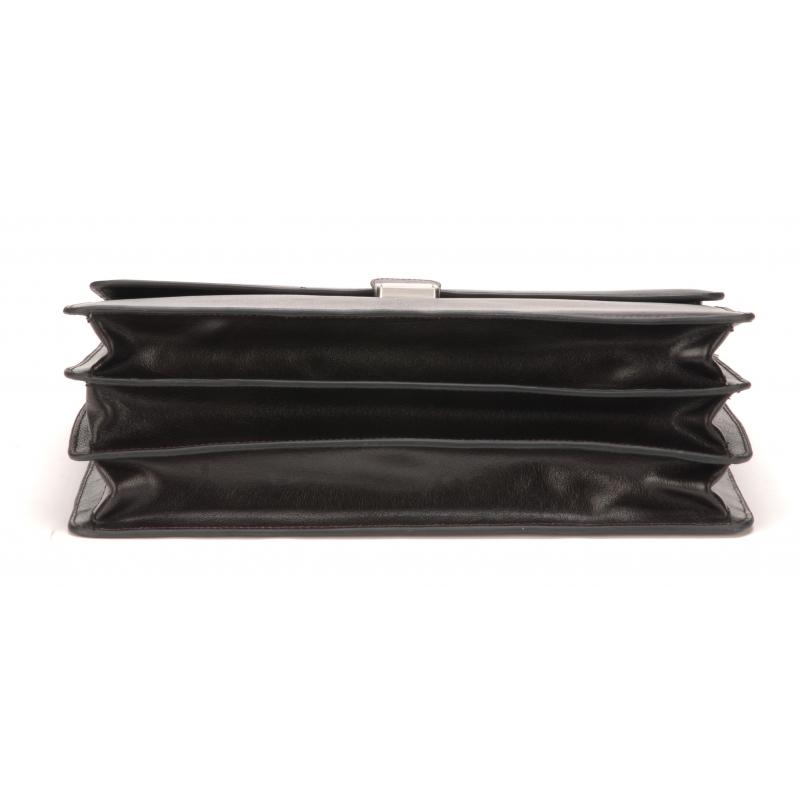 Serviette 3 soufflets cuir de buffle noir