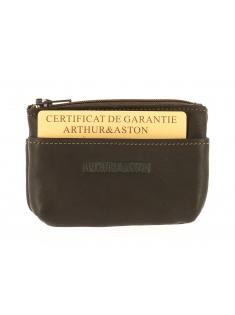 Porte-monnaie zippé cuir gras