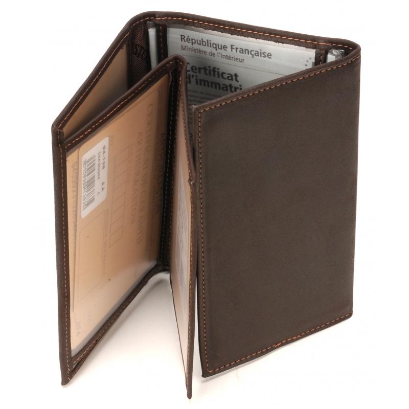 Porte papiers en cuir gras chataigne