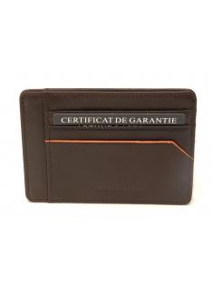 Porte-cartes et papiers Hugo en cuir plongé